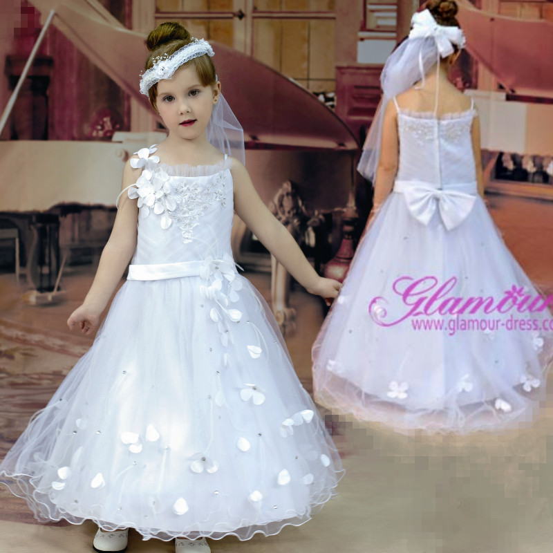 Glamour Girl Wedding Dresses : Glamour white flower girl dresses with flowers first communion dress