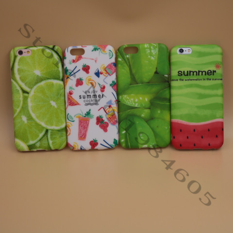 2016 Hot IMD Ultrathin Soft Phone Cases For iphone 5 5s 6 6s 6Plus Cocktail Watermelon Orange Carambole Pattern Phone Case Cover(China (Mainland))