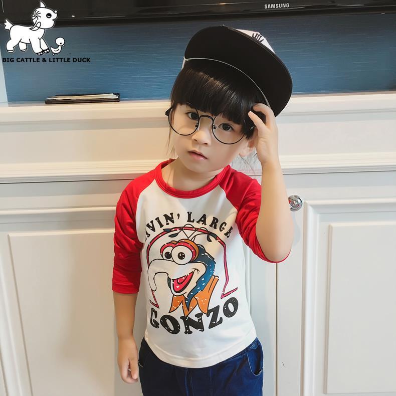 2016 autumn t-shirts, long sleeve children t shirts, cute animal cartoon t-shirt, candy color bottoming t shirt, nova kids(China (Mainland))