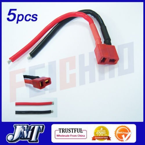 F01895 5PCS  Deans style T plug Female Connector 14AWG Silicone Wire Cable