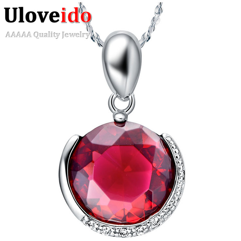 Silver Plated Long Necklace Ruby Purple Jewelry Round Stone Pendant Micro Pave Crystal Wedding Accessories 2016 Uaib N420(China (Mainland))