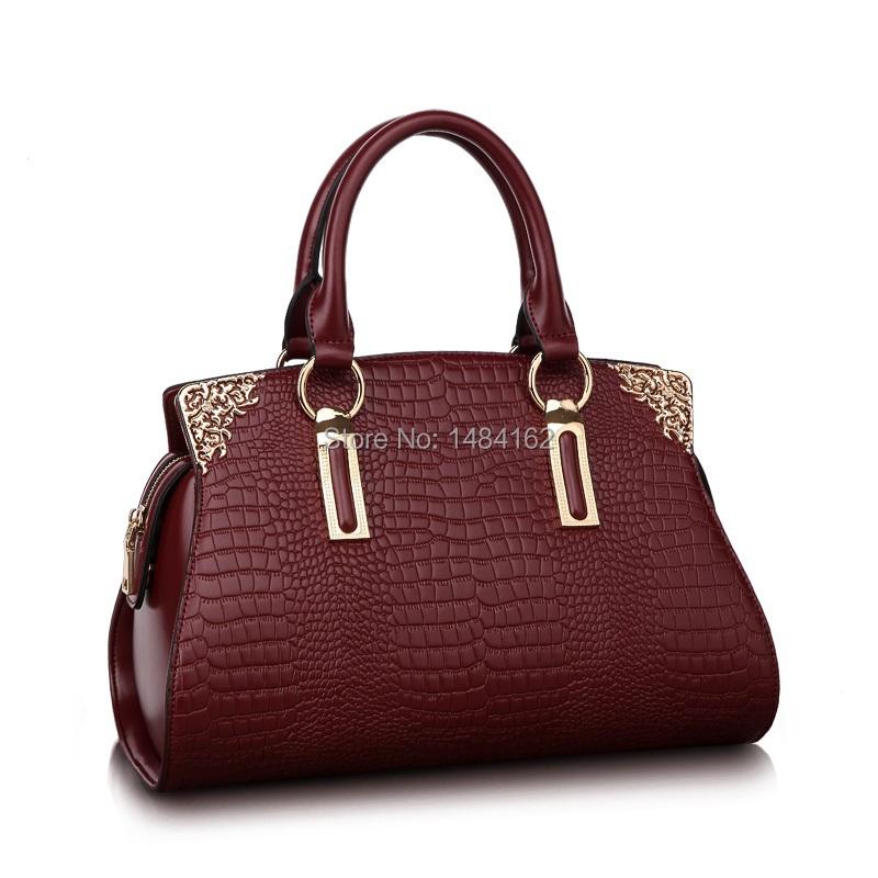 Elegant Genuine Leather Alligator Grain Sequined Women European Style Handbag Messenger Crossbody Bag with 6 Colour Choice 1161(China (Mainland))