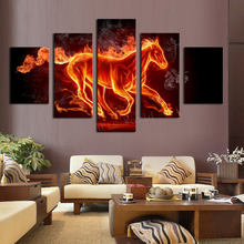 5 Panels Large HD Abstract Horse With Green Tree Top-Rated Canvas Print Painting For Living Room Wall Art Picture Gift Unframed(China (Mainland))