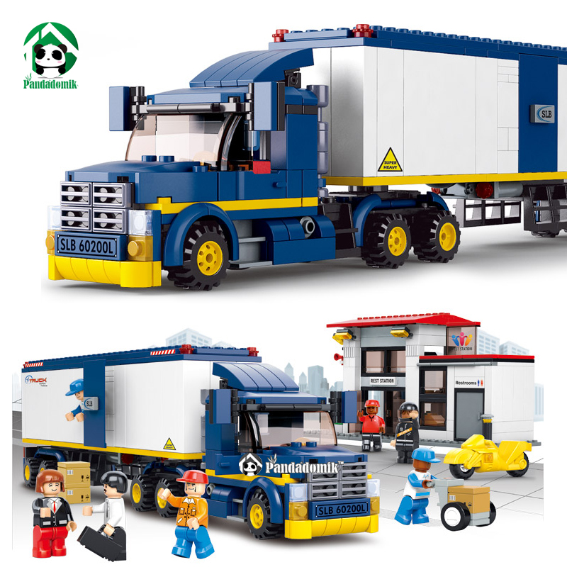 City Truck Station Building Blocks Set 537pcs with 7 Toy Figures Educational Bricks Toys Compatible with lego City(China (Mainland))
