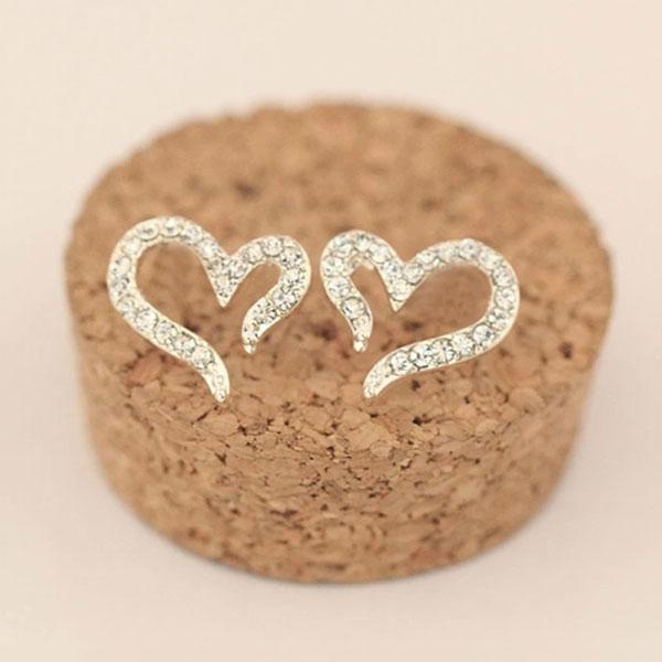 Гаджет  Cute Fashion 925 Sterling Silver Plated Crystal Rhinestone Heart Love Ear Stud Earrings Women Party Jewelry Gift New None Ювелирные изделия и часы