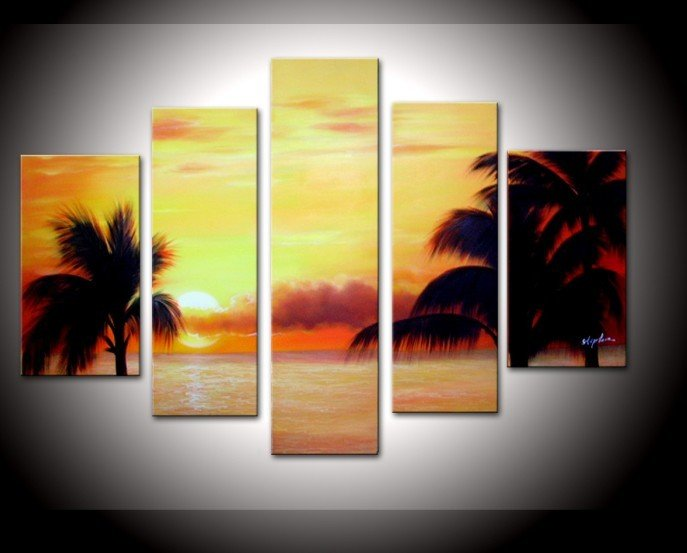 Hand painted Cloud coconut palm beach sea landscape Wall home Decor Oil Painting on canvas 5pcs/set artwork painted with frame