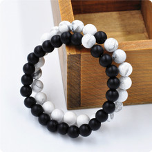 2Pcs Couples His & Hers Distance Bracelet Lava Bead Matching YinYang Anniversary SYT9101(China (Mainland))