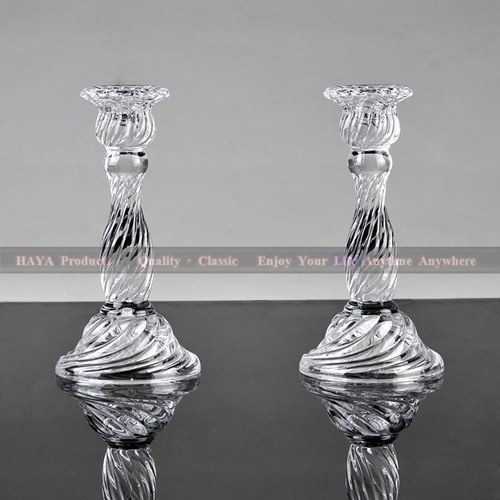 "set of 2 Glass candlestick 6"" tall festival candl holder crystal wedding decoration candle holders(China (Mainland))"