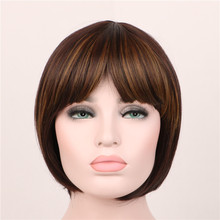 cheap good quality straight short bobo wigs cosplay lolita wig ombre heat resistant women synthetic wigs short brown wig pelucas(China (Mainland))
