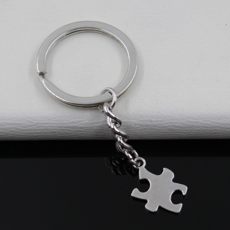 Fashion diameter 30mm Key Ring Metal Key Chain Keychain Jewelry Antique Silver Plated jigsaw puzzle piece autism 20*14mm Pendant(China (Mainland))