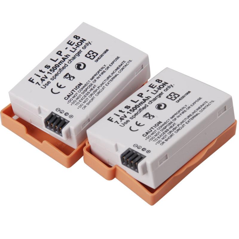 2Pcs Lot 1500mAh LPE8 LP E8 LP E8 Battery for Canon Cameras Rechargeable batteies EOS 550D