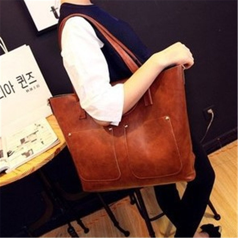 2015 new Fashion women 2 PCS shoulder bags + messenger bag famous brand handbag PU leather lady clutches composite Casual tote(China (Mainland))