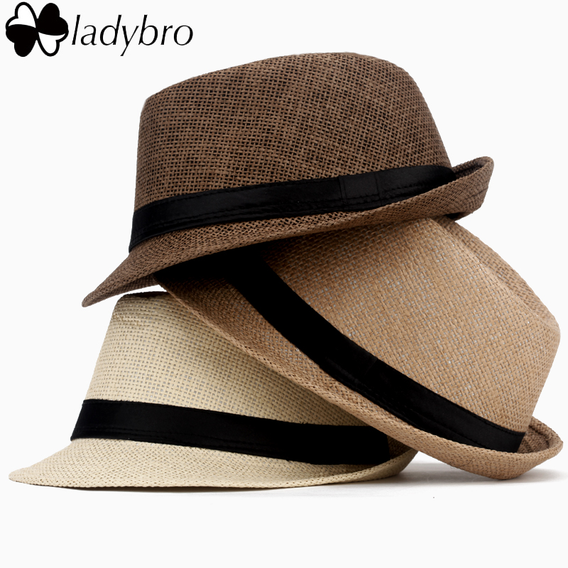 Ladybro Casual Panama Sun Hats Straw Men Beach Summer Fashion Hats For Women Fedora Trilby Gangster Cap Jazz Hats Girl Visor Cap(China (Mainland))
