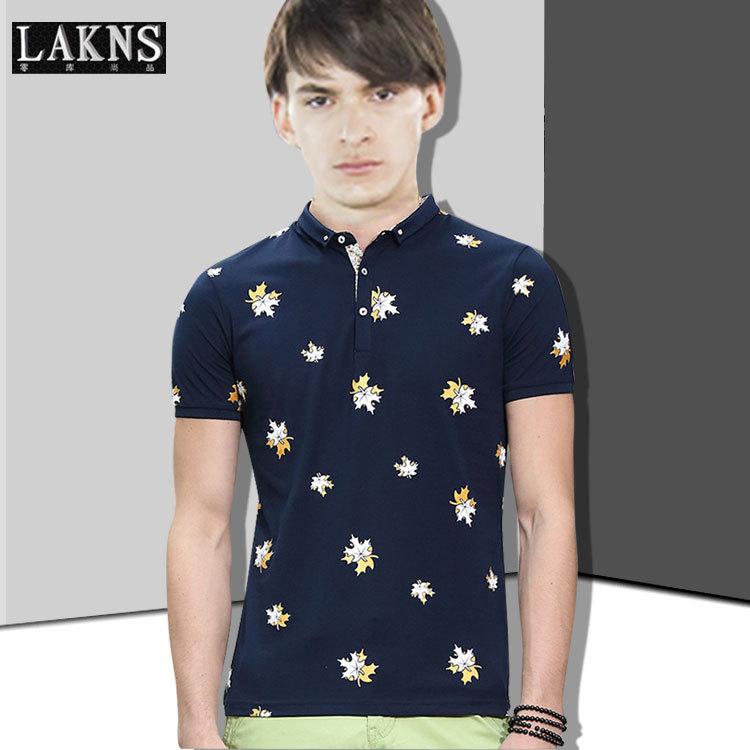 Fashion 2015 men's small lapel t-shirt summer male short-sleeve cardigan print t-shirt men's clothing trend(China (Mainland))