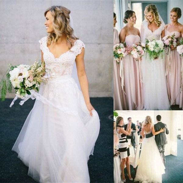 Charming bohemian a line wedding dresses 2015 lace short for Lace v neck backless wedding dress