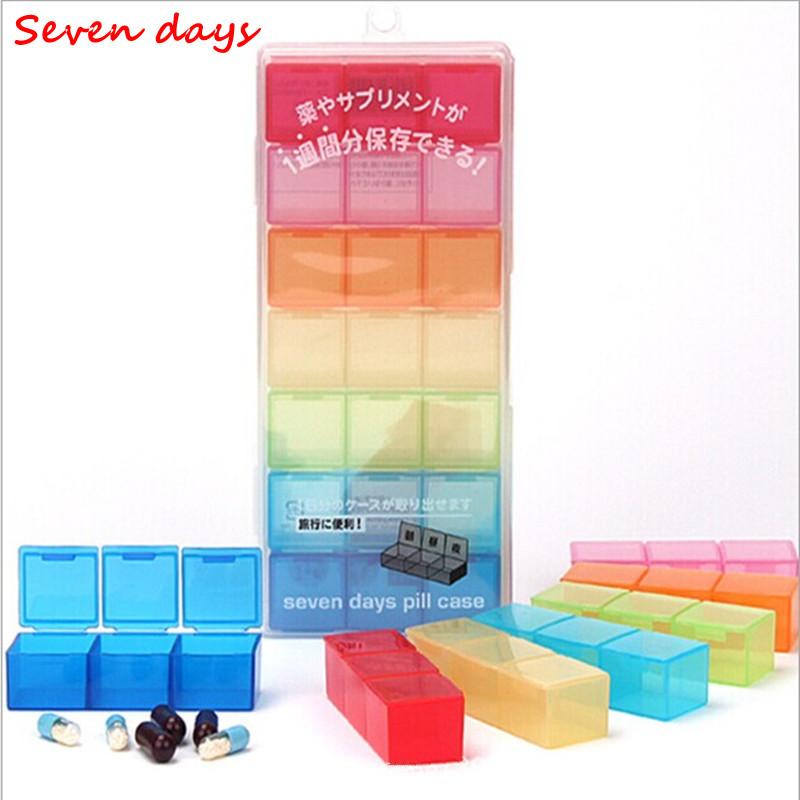 21 Slots Mini travel Seven days PP Pill cases Drug splitters Portable Medical box(China (Mainland))