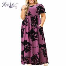 Nemidor 2019, хит продаж, женское летнее Повседневное платье с круглым вырезом и длинным рукавом, большие размеры 7XL 8XL 9XL, винтажное Макси платье с ...(China)