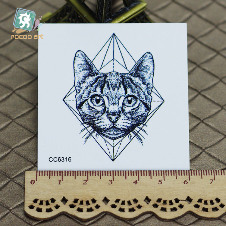 6X6cm Little Vintage Old School Style Kidded Cat Head Temporary Tattoo Sticker Body Art Water Transfer Fake Taty(China (Mainland))