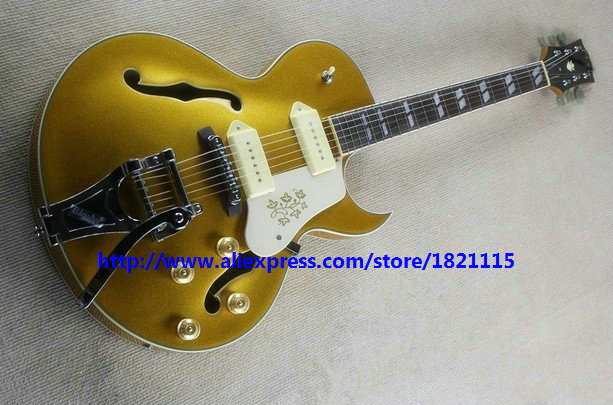 Goldtop 295 Custom Jazz Guitar Hollow Body with Bigbys New Arrival Wholesale OEM Cheap(China (Mainland))