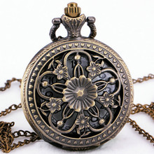 Delicate Vintage Flower Skeleton Quartz Pocket Watch