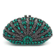 Boutique De FGG Escavar Floral Mulheres Verde Esmeralda Diamante Noite Bolsas Bolsas Saco Do Casamento Da Embreagem Das Senhoras Do Partido de Cristal(China)