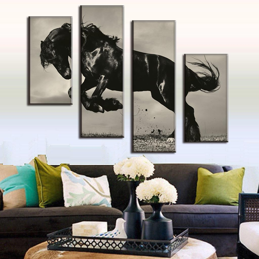 Buy Huge Modern 4 Pieces Combined Oil Painting On Canvas Jumping Black Horse