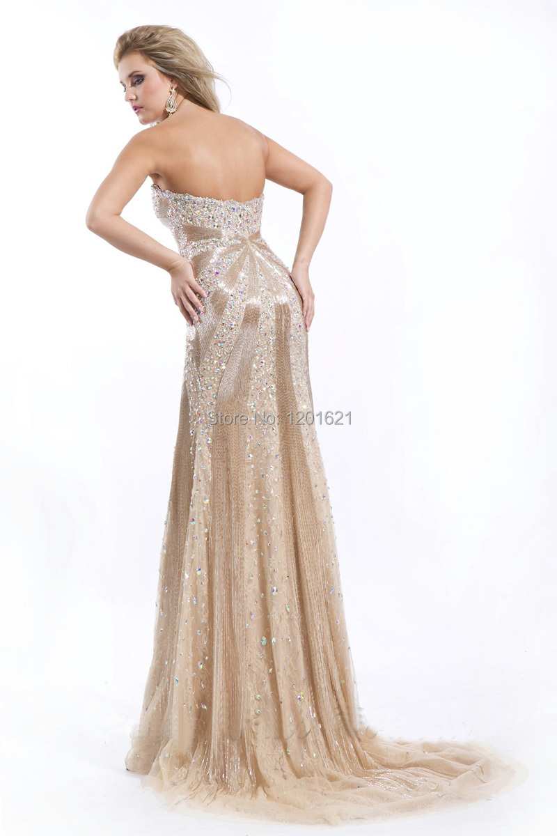 Sparkle 2015 fashion strapless sexy backless beading evening dresses luxury modern long house formal party gowns