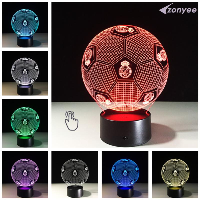 3D Visual USB LED Lamp Touch Sensor Football Shaped Night Light for Soccer Real Madrid Fans Gift LED Luminaria Bedroom Lighting(China (Mainland))
