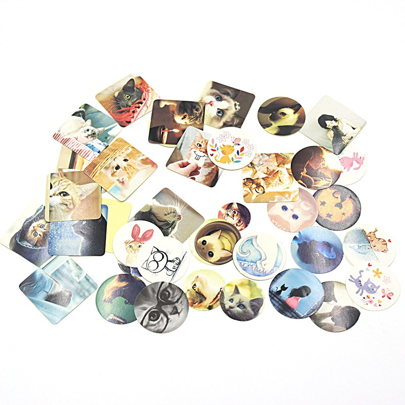 38 PCS Cat Print Memo Pad Lovely DIY Gift Sticker Girl Paper Sticker Diary Decoration Scrapbooking with paper boxed