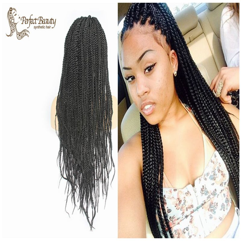 Фотография Braided Lace Front Wig with Baby Hair Black Micro Braided Wig Heat Resistant Soft Synthetic Wig For African American