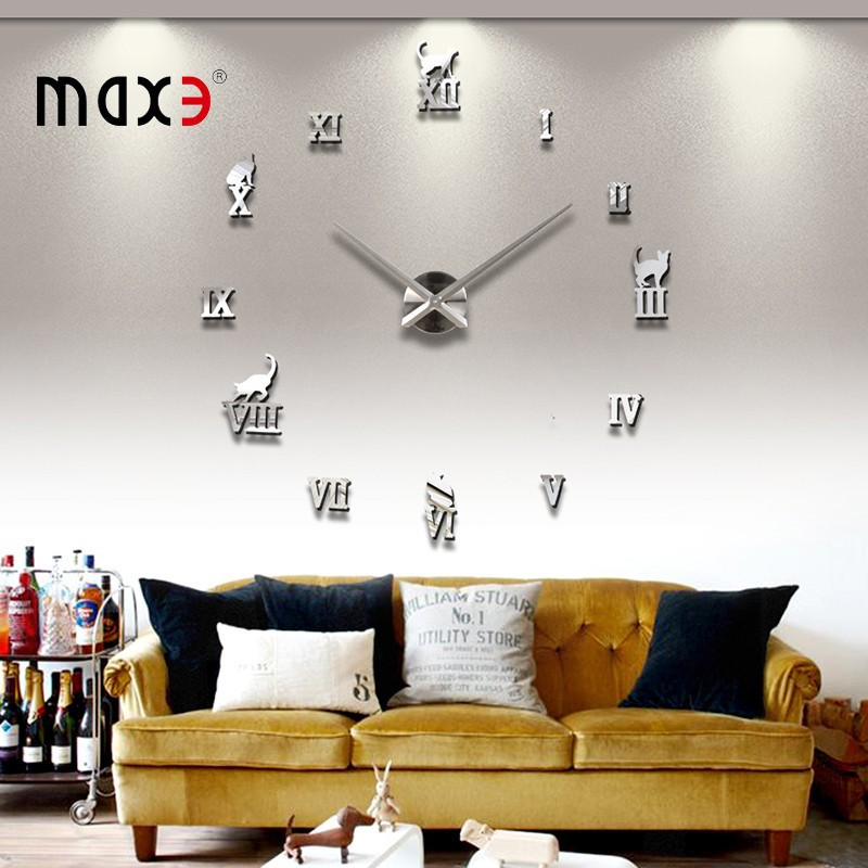 Promotion Gifts Fashion Living Room Decor Large Size 3D Wall Clocks DIY Greek Number Metal Sticker Mirror Design Clock - LY gifts store