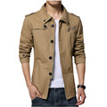 2015 Autumn Winter Men Slim Fit Jacket Single Breasted Trench Coat Male Casual Black Khaki Outerwear