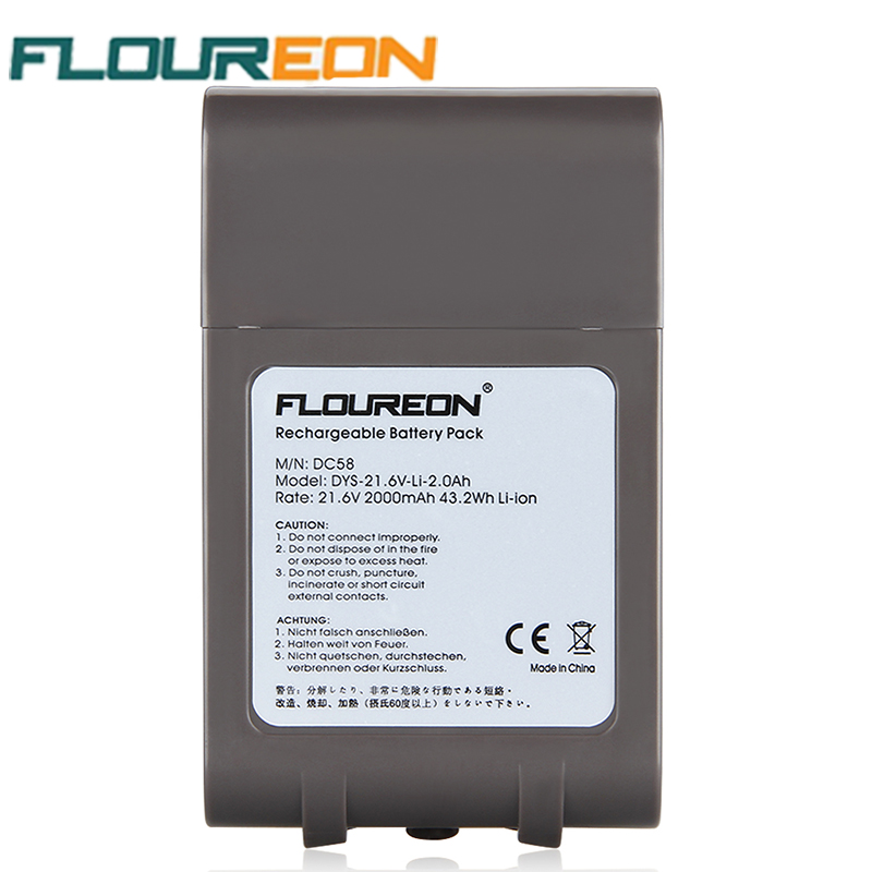FLOUREON 21.6V 2000mAh 43.2Wh Vacuum Cleaner Battery Rechargeable Packs Replacement Cordless Bateria for Dyson DC58 Li-ion(China (Mainland))