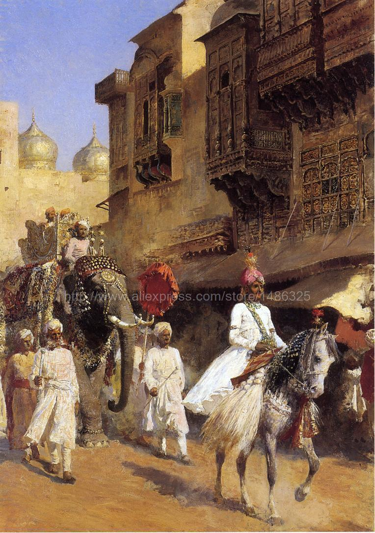 Handmade Oil Painting paint Edwin Lord Weeks Indian Prince And Parade Ceremony Picture Marriage Room Wall Painting Large(China (Mainland))