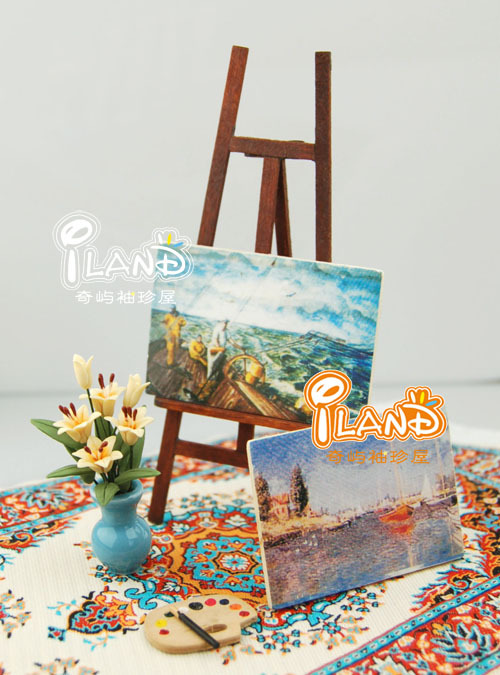 iland Free Shipping 1:12 Dollhouse Miniature Studio/Outdoor Painting Shelf Board OB022 Classic toys(China (Mainland))