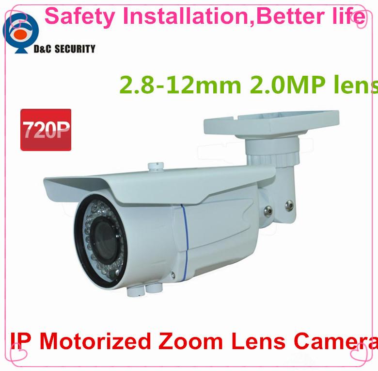 Safety Installation 2.8mm ~12mm varifocal motorized lens network camera 1.0MP IR ip camera POE cctv camera english firmware(China (Mainland))