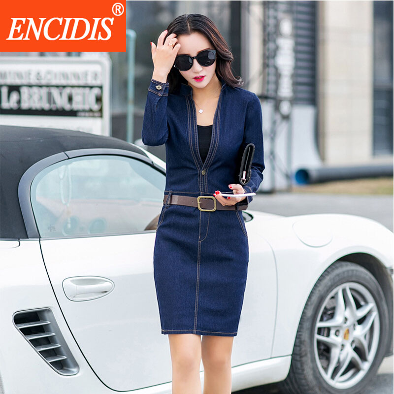 2016 Latest Women Clothing Spring Autumn Long Sleeve Dress Plus Size Blue Bodycon Sexy V-Neck Mini Short Jeans Denim Dresses Q58(China (Mainland))