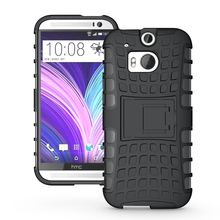 For HTC M8 Case Heavy Duty Phone Cover For HTC One M8 Hybrid Shockproof Hard TPU Armor Rugged Silicone Rubber Coque with Stand(China (Mainland))