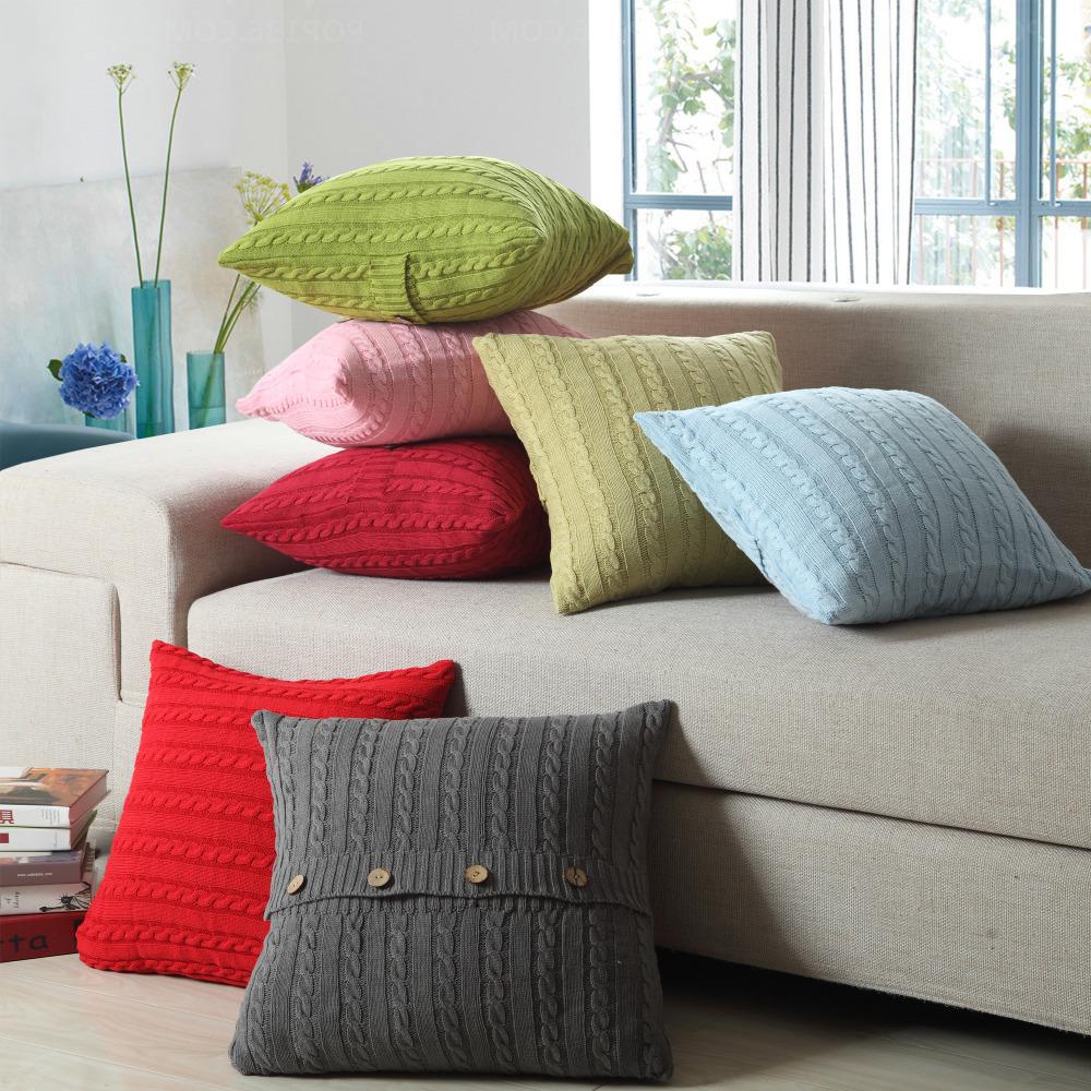 1xEuropean Vintage Cushion Cover 100% Cotton Home Sofa Knitted Cushion Case S...