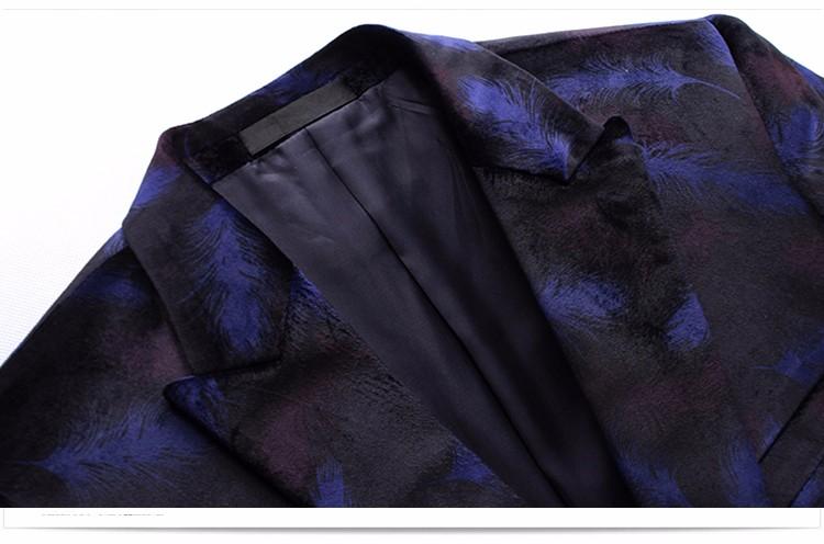 Мужские синий бархат Blazer конструкции размер м-4xl 2016 мода ну вечеринку slim-подходят Blazer куртка свободного покроя пиджаки для мужчин A0062