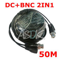 free shipping! 50M DC BNC 2in1 Video Power adapter CCTV camera cable Security System accessories(China (Mainland))