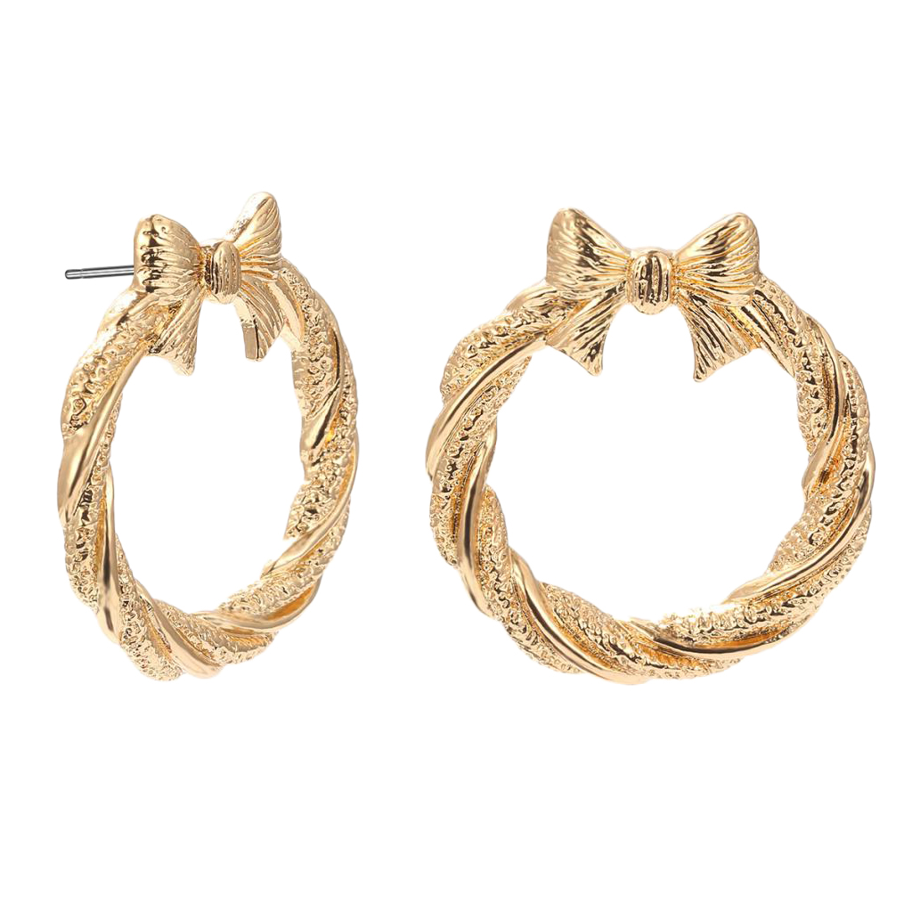 50*40mm Big Round with Bowknot Hoop Earrings Alloy Clip Ear Studs Jewelry for Women Girls Hypoallergenic Studs