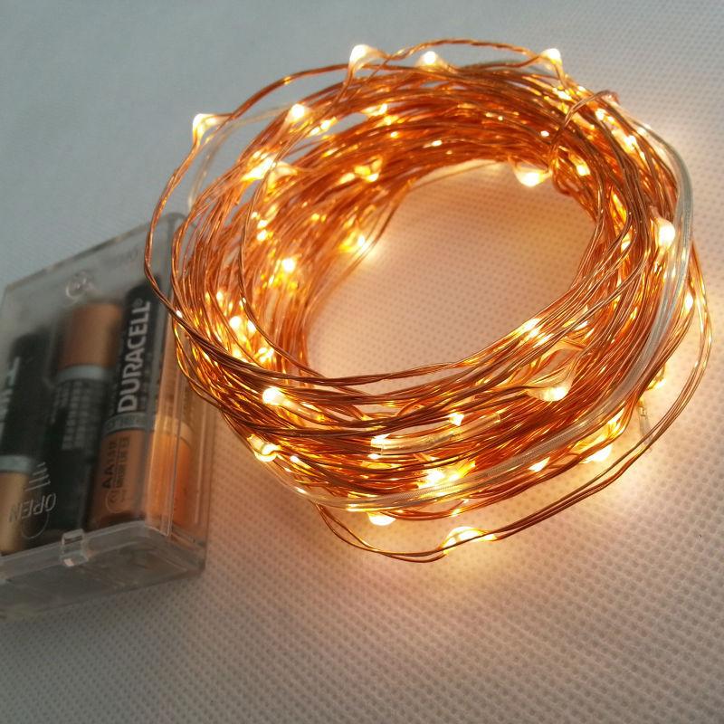 10m 33ft 100 led 3 aa batteriebetriebene dekoration führte kupferdraht fee lichterkette lampen für Weihnachtsferien Hochzeitsgesellschaft(China (Mainland))
