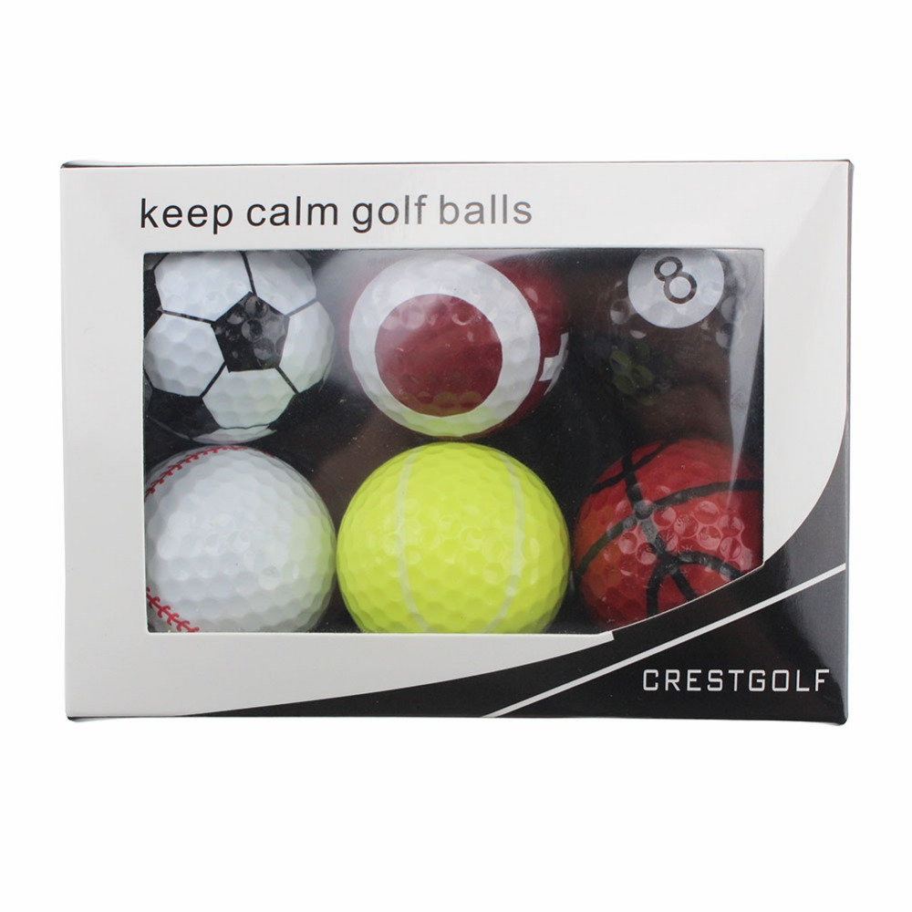 6pcs/pack Novelty Sports Practice Golf balls ballen Two Layer Golf pelotas Assorted Golf Ball Driving Range Ball With Boxes(China (Mainland))