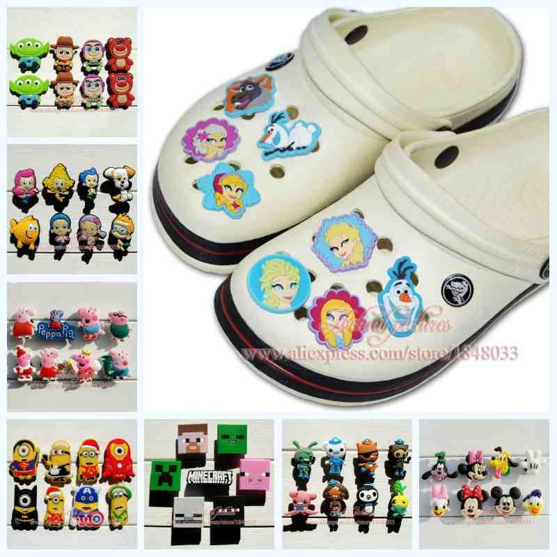 6-8PCS cartoon PVC Shoe Charms Fit Bands Bracelets Croc JIBZ,Lovely Shoe Buckles Accessories/decoration,Kids Party Gifts/Favors(China (Mainland))
