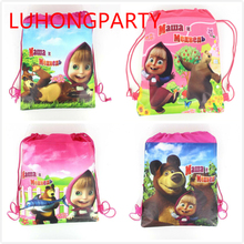 12pcs non-woven fabric backpack Masha and Bear party supply travel decoration mochila cartoon drawstring school bag LUHONGPARTY(China (Mainland))