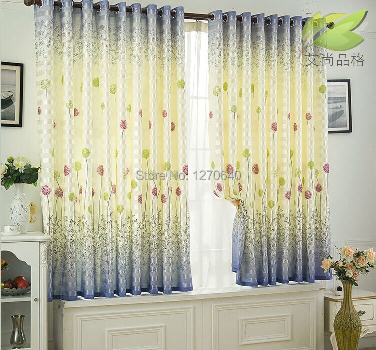 Rustic finished curtains printing short curtain to child good quality small blackout curtain for living room thick shading cloth(China (Mainland))