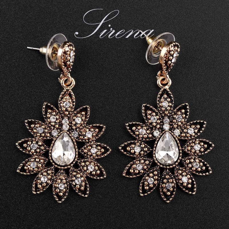 EC054 2015 Luxury Tears Vintage Gold Color Dangle Drop Chandelier Austrian CZ Big Crystal Rhinestone Earrings Jewelry Gift - SIRENA store