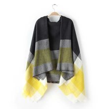 za Winter 2015 Tartan Scarf fashion Plaid Scarf Women Blanket Oversized Wrap Shawl Cozy Checked Yellow Factory