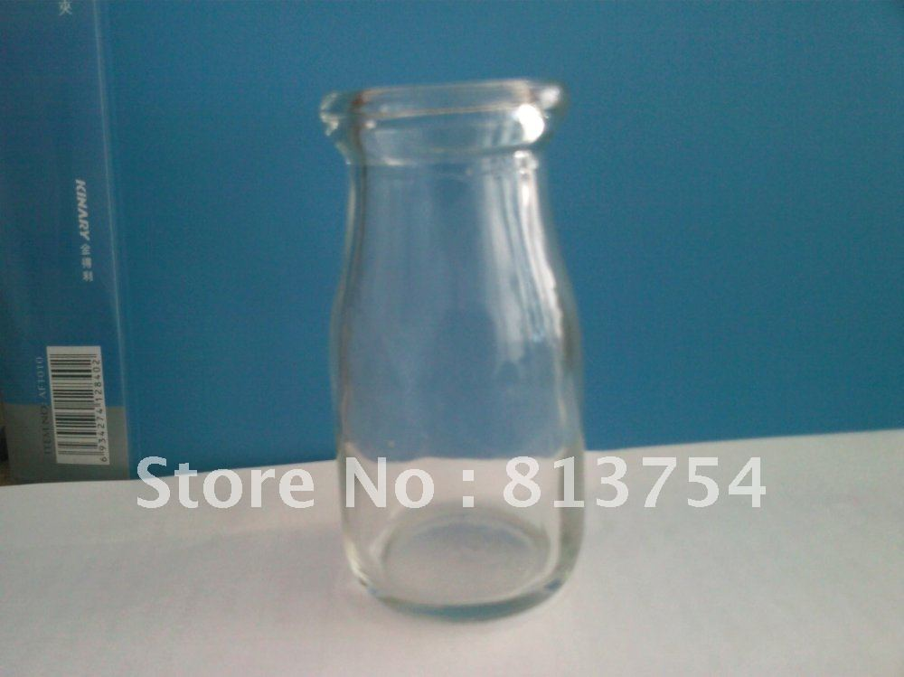 Milk Glass Bottle Pudding Jar On